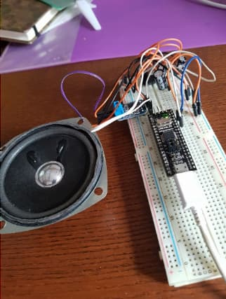 The second version of SID's electronics using an STM32 on a large breadboard